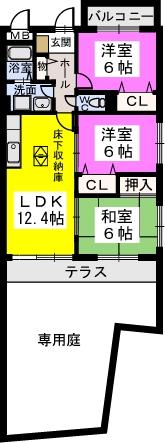 シャトレ弐番館 / 105号室間取り