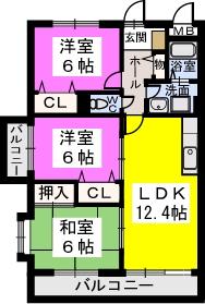 シャトレ弐番館 / 201号室間取り