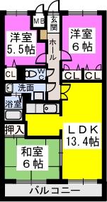 シャトレ弐番館 / 402号室間取り
