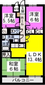 シャトレ弐番館 / 403号室間取り