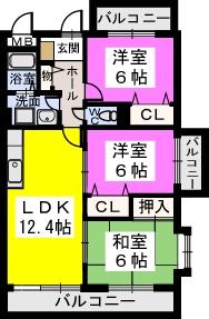 シャトレ弐番館 / 405号室間取り