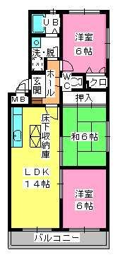 シャトレ参番館 / 103号室間取り