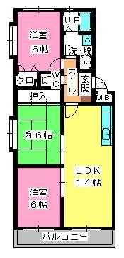 シャトレ参番館 / 401号室間取り