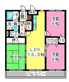 シャトレ参番館 / 402号室間取り