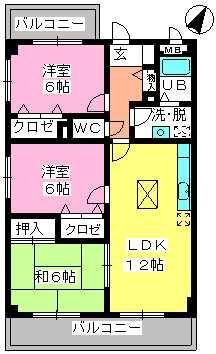シャトレ天拝 / 107号室間取り