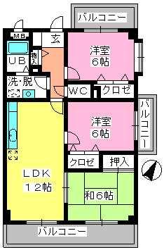 シャトレ天拝 / 701号室間取り