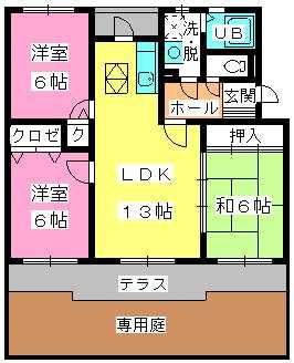 グランドゥール筑紫野 / 102号室間取り