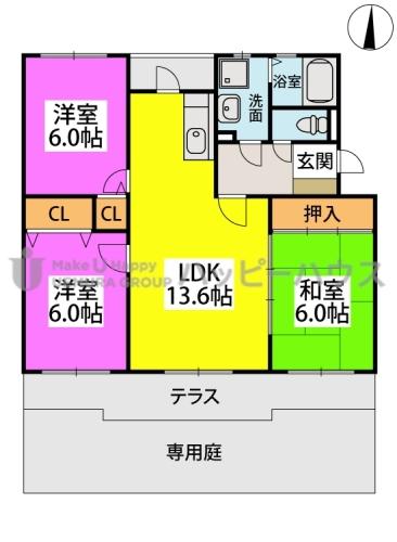 グランドゥール筑紫野 / 105号室間取り