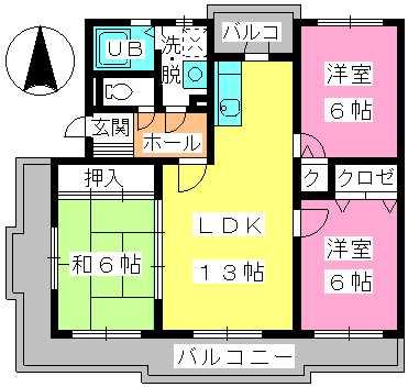 グランドゥール筑紫野 / 301号室間取り