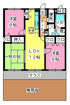 ピア観世S-N / N-102号室間取り