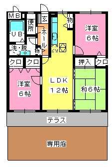 ピア観世S-N / S-105号室間取り