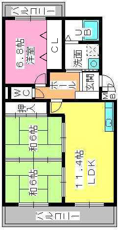 グリーンヒルズ桜台 / 1-203号室間取り