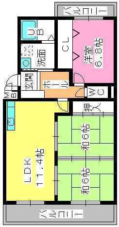 グリーンヒルズ桜台 / 2-102号室間取り