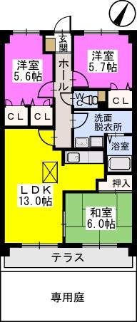 プレステージ塔原 / 101号室間取り