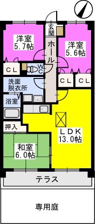 プレステージ塔原 / 105号室間取り