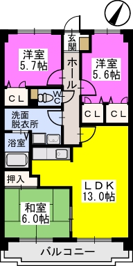 プレステージ塔原 / 405号室間取り