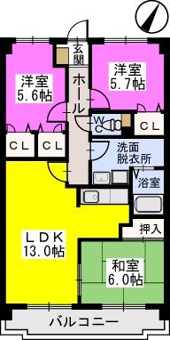 プレステージ塔原 / 602号室間取り