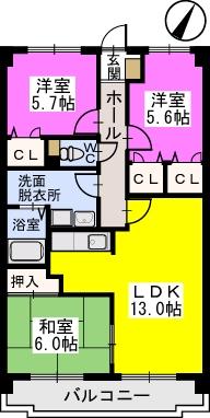 プレステージ塔原 / 603号室間取り