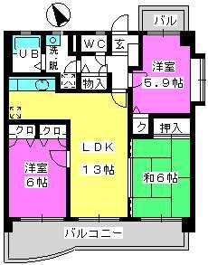 プレミール筑紫 / 302号室間取り