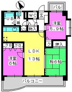 プレミール筑紫 / 402号室間取り