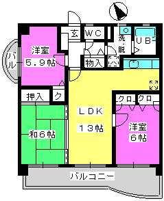 プレミール筑紫 / 601号室間取り