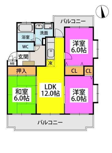 フレア水城 / 201号室間取り