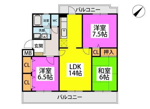 カサグランデ太宰府 / 402号室間取り