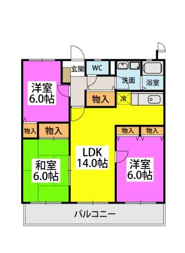 エクセレント中嶋Ⅲ / 302号室間取り