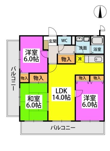 エクセレント中嶋Ⅲ / 305号室間取り