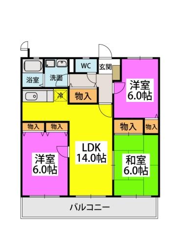 エクセレント中嶋Ⅲ / 401号室間取り