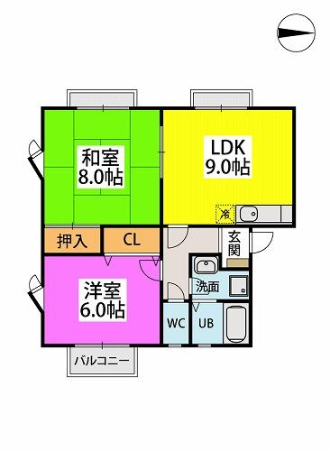 映好庵Ⅱ / 102号室間取り