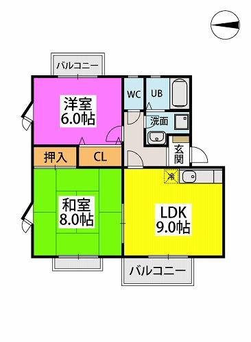 映好庵Ⅱ / 201号室間取り