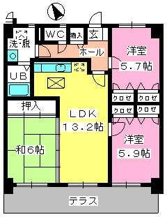 カサグランデ筑紫 / 102号室間取り