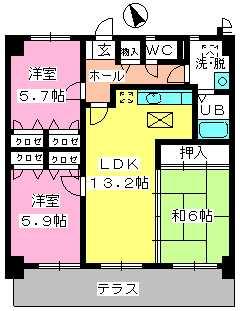 カサグランデ筑紫 / 103号室間取り