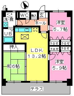 カサグランデ筑紫 / 105号室間取り