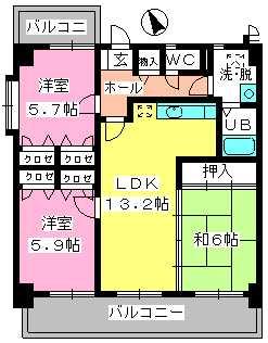 カサグランデ筑紫 / 601号室間取り
