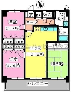 カサグランデ筑紫 / 603号室間取り
