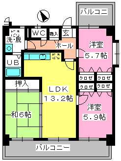 カサグランデ筑紫 / 607号室間取り