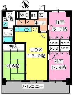 カサグランデ筑紫 / 702号室間取り