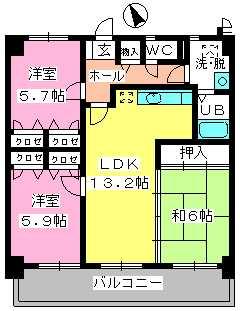 カサグランデ筑紫 / 706号室間取り