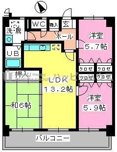 カサグランデ筑紫 / 805号室間取り