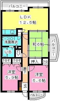 フォーレスト弐番館 / 405号室間取り