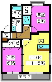 ティアラ観世音寺 / 105号室間取り