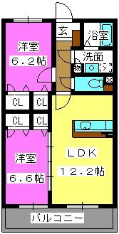 デューク筑紫野 / 202号室間取り