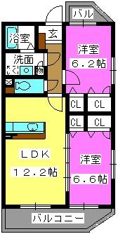 デューク筑紫野 / 401号室間取り