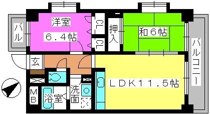 エスペーロ桜台 / 202号室間取り