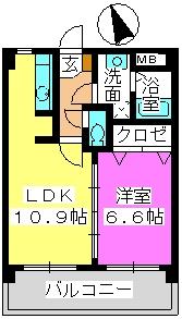 ハイムK.I二日市駅前 / 502号室間取り