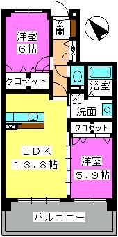 ファミーユ筑紫Ⅱ / 503号室間取り
