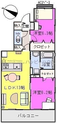 グランドール / A-301号室間取り