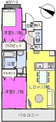 グランドール / A-302号室間取り
